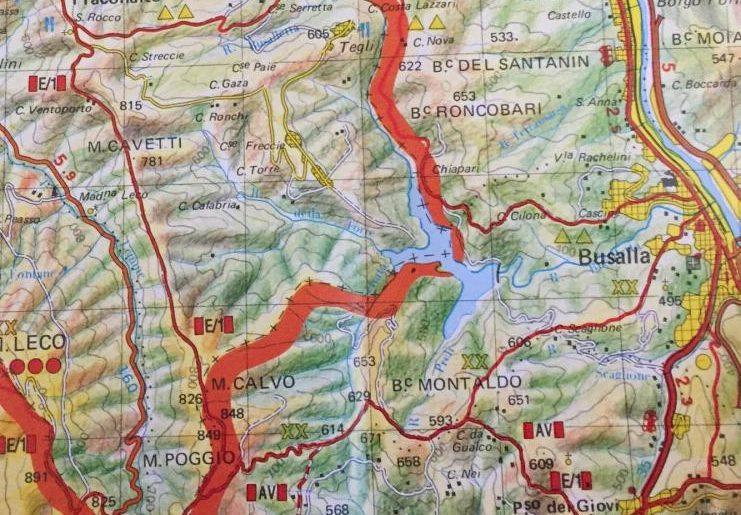 La mappa del percorso: dalla Sereta a Fraconalto, al passo della Bocchetta, Poi a Busalla e di nuovo alla Sereta