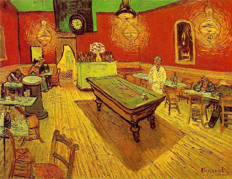 Van Gogh, l'interno del caffè di notte